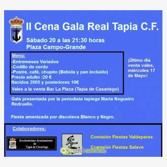 II Cena de Gala Real Tapia C.F. y fiesta 2017