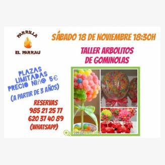 Taller arbolitos de gominola en Parrilla El Parrau