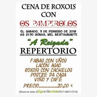 Cena de Roxois 2018 con Os Pampirolos